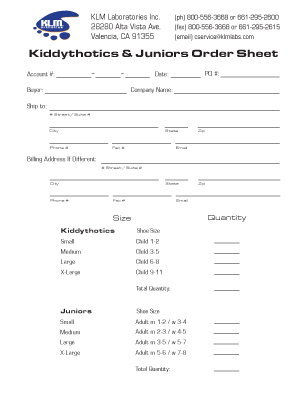 Kiddythotics and Juniors Order Form