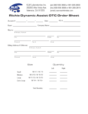 Richie Dynamic Assist OTC Order Form
